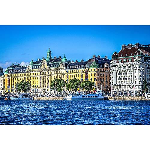 Puzzle Stockholm Stads serie pussel svenska stadslandskap vuxna trä dekorativa pedagogiska leksaker gåva 500/1000/2000/3 000 stycken 0422 (färg: A, storlek: 1 000 stycken)