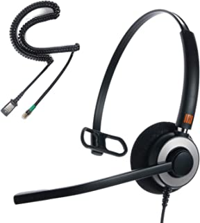 IPD IPH-160 Professional Monaural Noise Cancelling,Corded Call Center/Office Headset with U10P-S Bottom Cable Works with LG,Yealink SIP,Snom and Panasonic and Other IP Phones