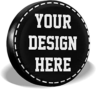 Custom Spare Tire Cover Add Your Own Image Text Logo Universal Wheel Tire Cover Waterproof Dust-Proof Personalized Tire Protectors for Rv Trailer Jeep SUV and Many Vehicle