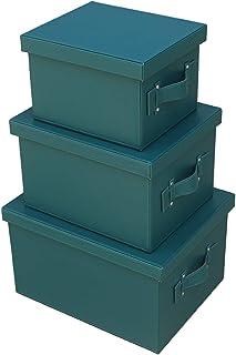 JINTIANSDS Cuir Grande Capacité Boîtes De Rangement avec Poignée,Rectangle Portable Paniers De Rangement avec Couvercle,Du...