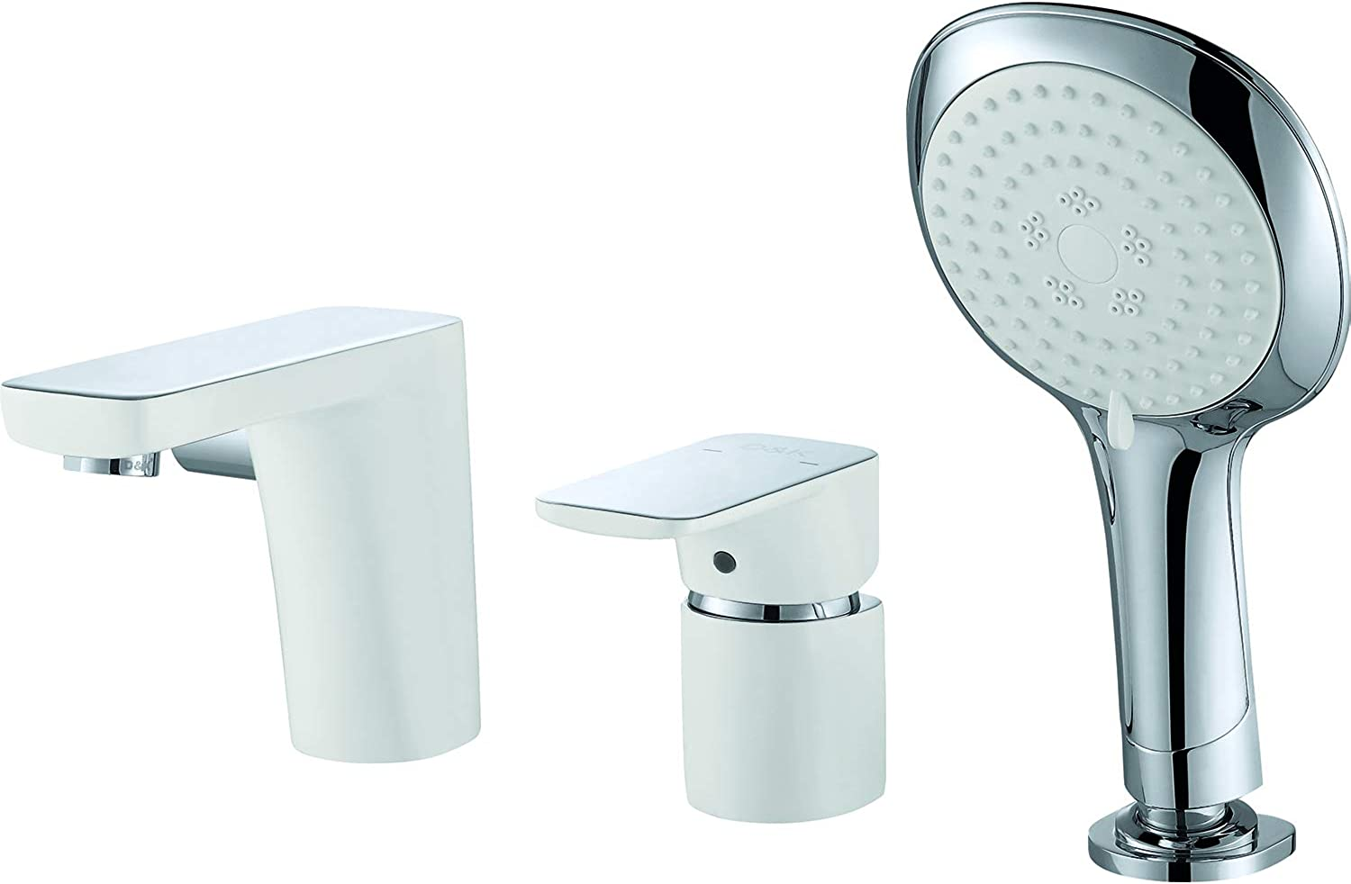 White Water Save Tub Mixer Tap One-Lever Brass with Pull-Out Handheld Shower - Nickel Chrome Finish DA1434916