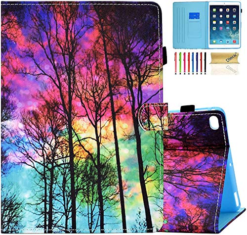 Dteck iPad 6th Gen Case, iPad 5th Gen Case, iPad Air 1 2 Case, Slim Fit PU Leather Shockproof Auto Sleep Wake Multi Angle Stand Pencil Holder Cover Case for Apple iPad 9.7 2018/2017, Colorful Forest