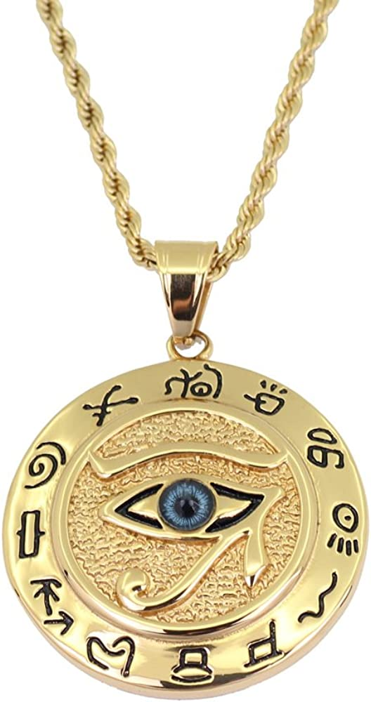Moca Jewelry Hip-Hop Ancient Egyptian Horus Eye Pendant Stainless Steel Chain Rhinestone Crystal Necklace for Men Women