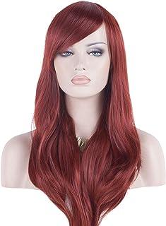 "DAOTS 28"" Wig Long Heat Resistant Big Wavy Hair Women Cosplay Wig (Wine Red)"