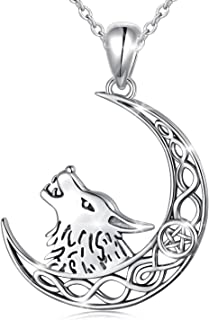 Sponsored Ad - Ladytree Howling Wolf Crescent Moon and Star 925 Sterling Silver Pendant Necklace Jewelry Gifts for Women G...