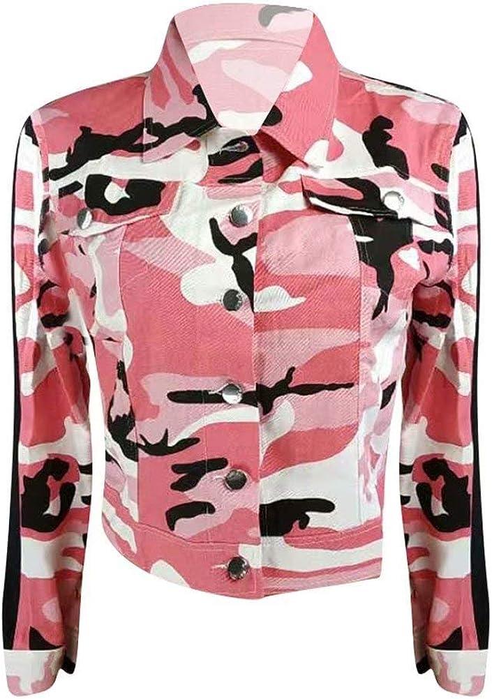OLUOLIN Women's Long Sleeve Camo Button Closed Cropped Denim Jacket Short Coat Outwear