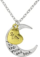 CHOP MALL Beloved I Love Mum Necklace Carving I Love You to the Moon and Back Moon Heart Pendant Chain Necklace for Women Mum/Mother's Day/Mommy Birthday/Anniversary Gift