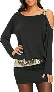 Women Cold Shoulder Sequins Dresses Strapless Mini Blouson Dress