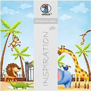 Ursus 703000185 Zoo Papier pour Scrapbooking à Paillettes