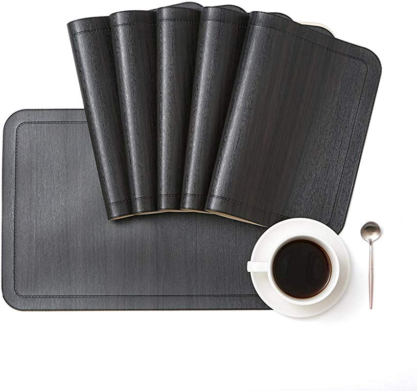 DOLOPL Placemat PU Leather Placemats Set Of 6 Waterproof Washable Heat Resistant Non Slip Anti Skid Table Mats For Kitchen Dining Table In Black