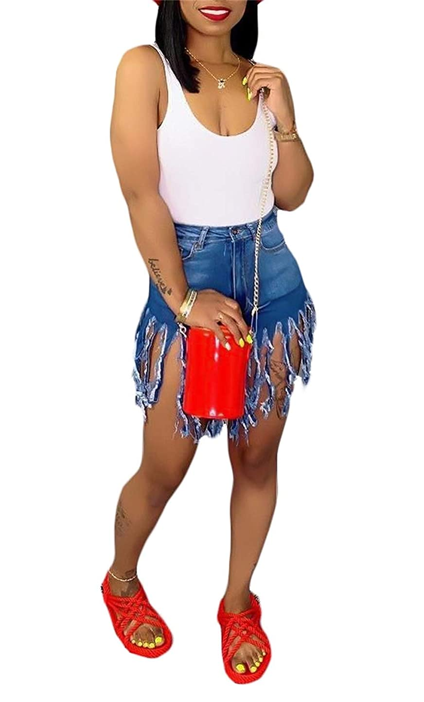 Women's Sexy High Waisted Shorts Summer Solid Frayed Denim Pants Tassels Ripped Jean with Pockets Plus Size Club Night thekfzkstdw8