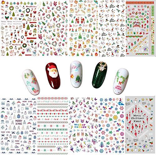 Ebanku Weihnachten Nagelsticker Nail Art Aufkleber Nagel Sticker, 10 Blatt Nail Art Decals selbstklebende DIY Nail Art Tipps für Frauen Mädchen Kinder