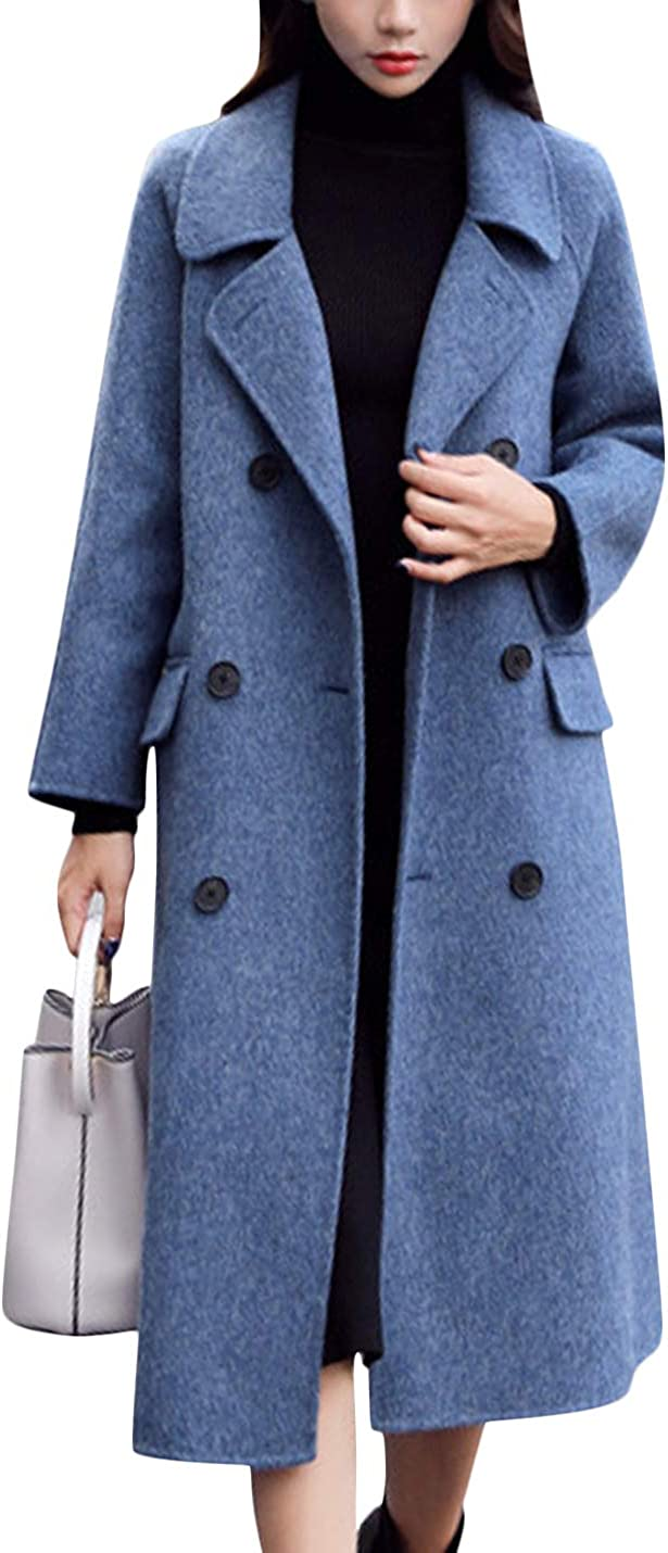 New Orleans Mall Springrain Women's Lapel Double Breasted Blend Wool Pea Lon High order Coat
