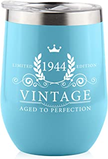 1944 75th Birthday Gifts for Women Men - Splash Proof 12 oz Stainless Steel Wine Tumbler   Funny Gift Ideas for Her Wife Mom Grandma Him Dad   Insulated Wine Glass for Party Decorations (Blue, 1944)