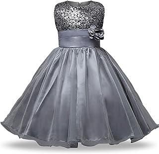 GFDGG フラワーページェントパーティーチュチュ刺繍プリンセスドレス子供衣装ドレス女の子プリンセス (色 : グレー, サイズ : 160cm)