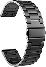 TiMOVO Replacement Band Compatible with Garmin Fenix 5/5 Plus/Fenix 6/Forerunner 935/945, Premium Stainless Steel Quick Release Watch Band Fit Forerunner 935/945/Fenix 5/5 Plus/Fenix 6 - Black