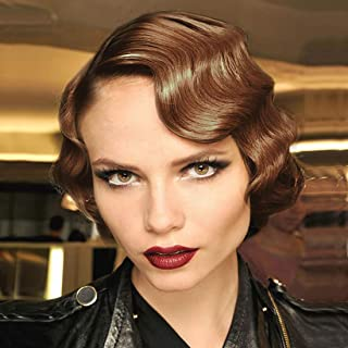 STfantasy Finger Wave Wigs 1920s Flapper Brown Women Costume Party