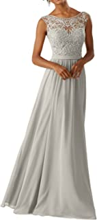 DressyMe Women's Lace Bridesmaid Dresses A-Line Long Prom Dress Chiffon Sleeveless