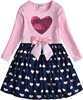 Baby Girl Cartoon Flower Cotton Dress Long Sleeve Winter Dresses for 2-8 Years Little Girls