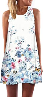 LOOKATOOL Vintage Boho Women Summer Sleeveless Beach Printed Short Mini Dress