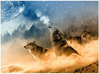 DIY Painting by Numbers Animals Wolf Painting Modern Picture Home Decor for Living Room Canvas DIY Painting for Adults and Kids with Paints-Without Frame