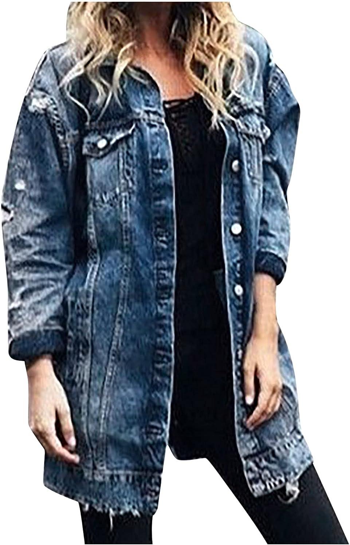 CANDITY Women's Denim Jacket Long Button Down 3/4 Sleeve Jacket Ripped Denim Jacket Oversized Casual Coat