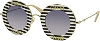 Gucci GG 0113S 008 Black and Tan Striped Plastic Round Sunglasses Blue Lens, 44-30-140
