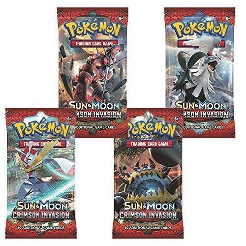 4 x Pokémon Sun & Moon Crimson Invasion Trading Card Game Booster Pack (4 confezioni sigillate)