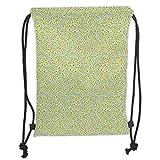 FFLISHD Gym Bag Printed Drawstring Sack Backpacks Bags,Farmhouse Decor,Gold Rain Drops Pattern Downpour Moisture Condensed from Atmosphere Artsy Work,White Soft Satin