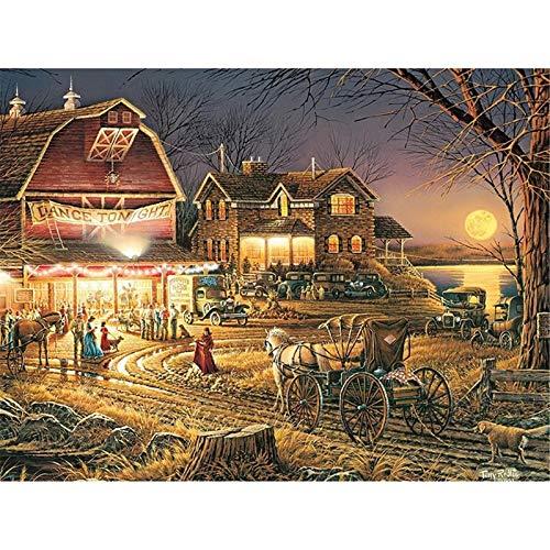 DIY 5D Pintura de Diamante Bordado Completo Vista nocturna del pueblo Diamond Painting Full Cristal Lienzo Mosaico Diamante Arte Craft Decoración del hogar Square Drill(25x30cm/10x12inch)