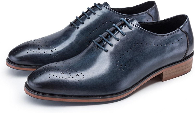 DHFUD Robe Britannique Chaussures Jeunes Chaussures Tête Ronde Hommes avec des Chaussures De Travail Sculpté Respirant Chaussures