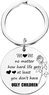 niyokki Mom Gifts Funny Keychains, Christmas Birthday Gifts for Mom from Daughter/Son, Personalized Keychain Presents for Mom