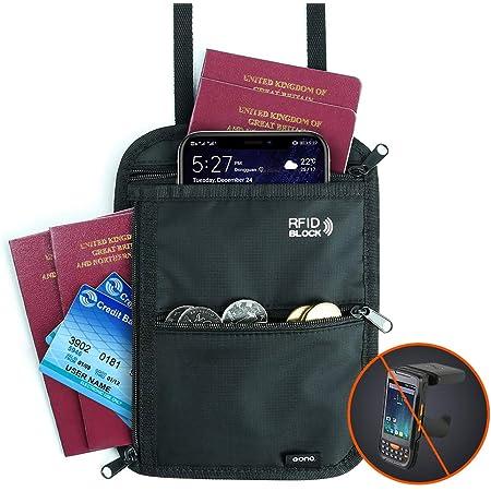 Amazon Brand - Eono Brustbeutel mit Mehreren Taschen, RFID-Versteckter Sicherheitshals-Geldbeutel für Bargeld, Karten, Schlüssel und Reisepass mit Verstellbarem Halsriemen