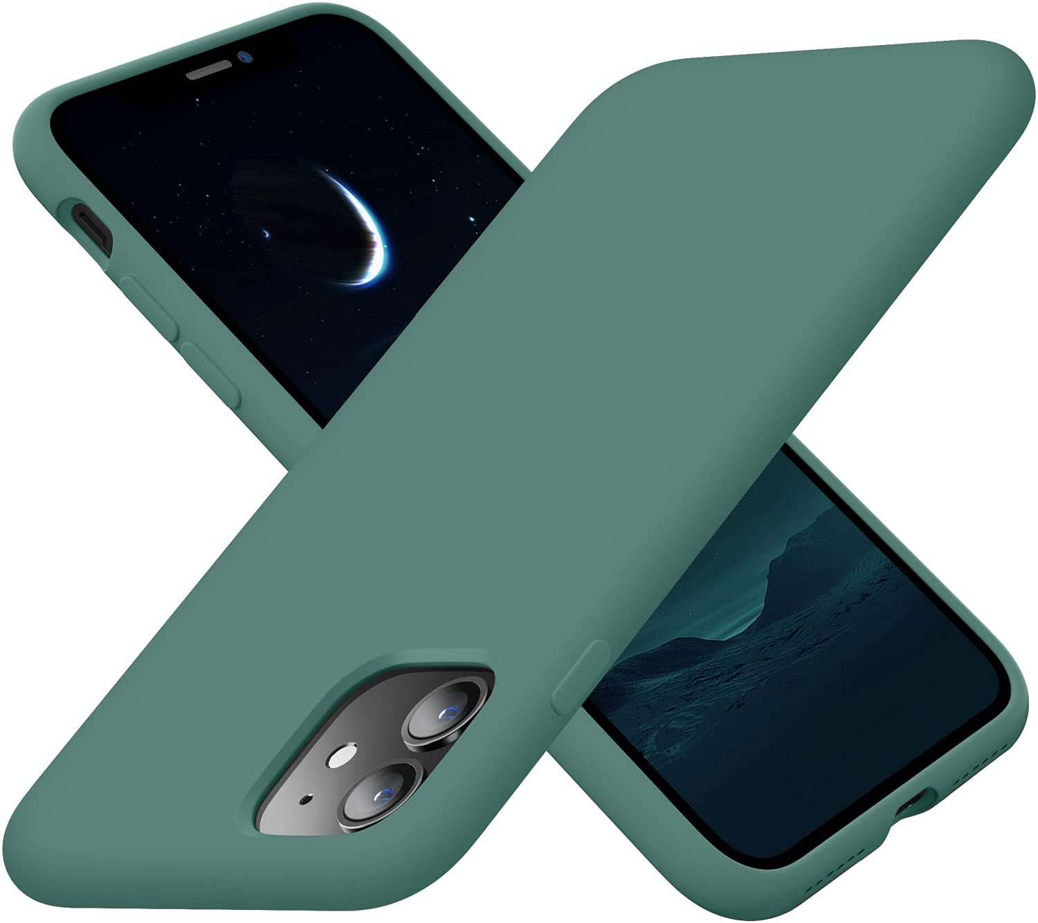 Cordking iPhone 11 Case, Silicone Ultra Slim Shockproof Phone Case with [Soft Anti-Scratch Microfiber Lining], 6.1 inch, Midnight Green