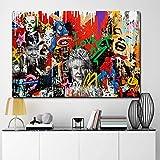 QZROOM Resumen Marilyn Monroe y Otras Estrellas Pintura en Lienzo Carteles e Impresiones Graffiti Street Pop Art Cuadro de Pared para Sala de estar-70x100cm Sin Marco