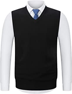 KTWOLEN Mens Slim Fit Knitted V-Neck Sleeveless Vest Classic Business Knitwear Jumpers Gilet Waistcoat Sweater Vest Tank Tops