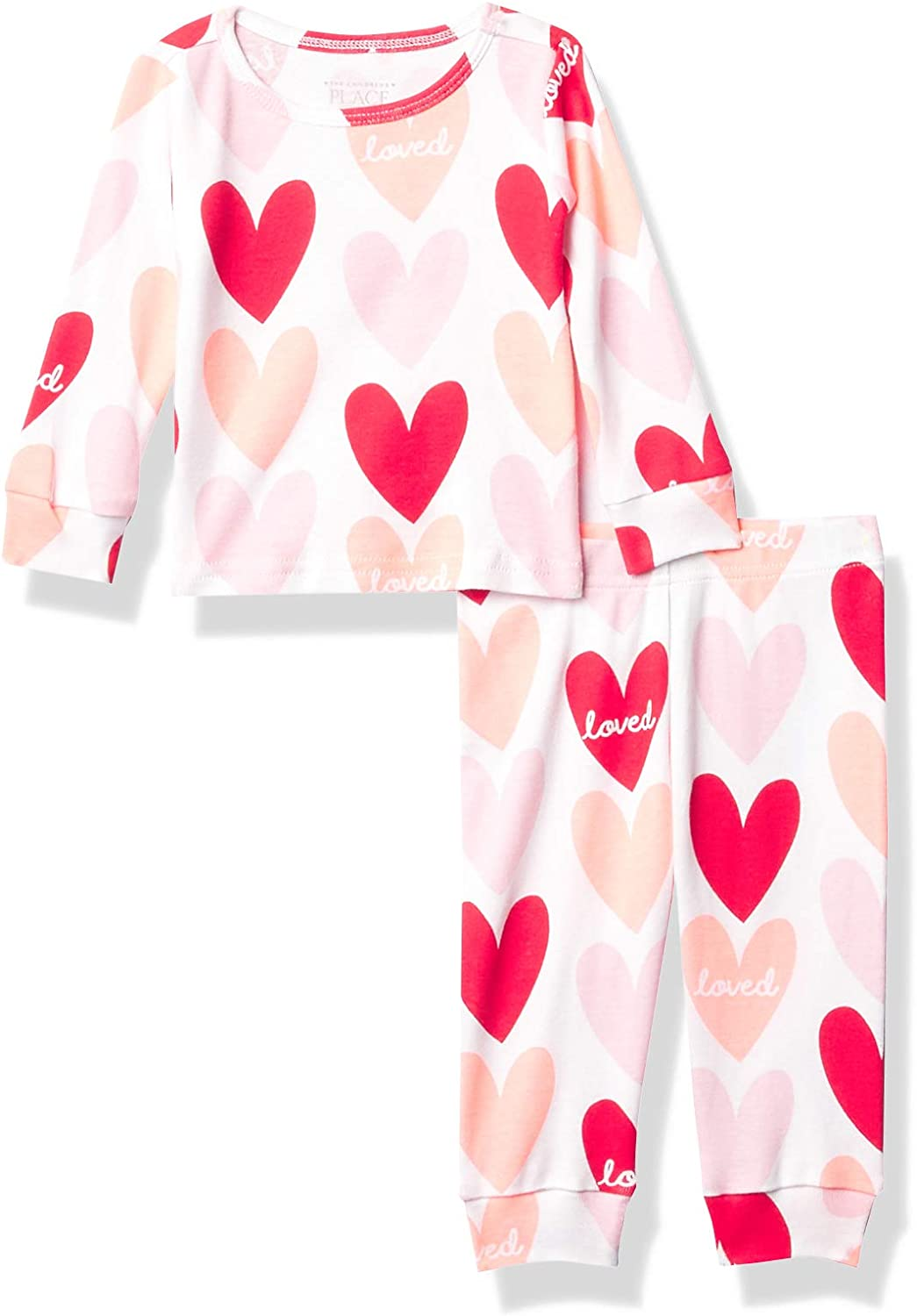 The Children's Place Girls' Baby and Toddler Hearts Snug Fit Cotton Pajamas