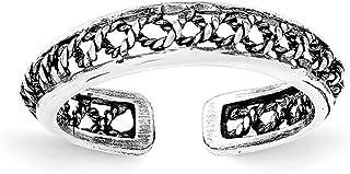 Lex & Lu Sterling Silver Polished and Antiqued Adjustable Ring LAL18627
