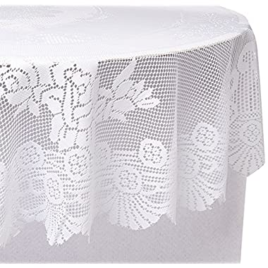 Ritz 100% Polyester Linen Tablecloth, Easy Care Floral Lace, Round, 70-inch round, White