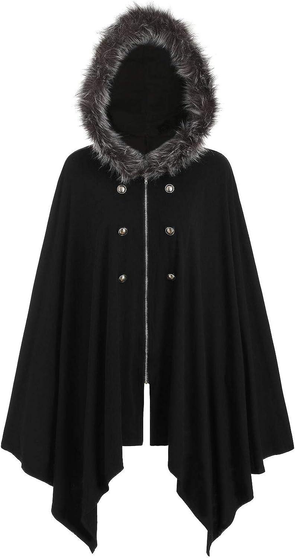 JMSUN Buttons Asymmetric Fur Trim Hooded Cardigan