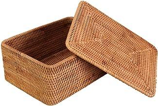 YAYADU Storage Basket Rattan Finishing Box Rectangular Lid Kitchen Restaurant Room Store Books Magazine Newspaper Food Clo...