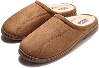 GaraTia Mens Fluffy Cozy Slipper Slip-on Clog Winter House Shoes Indoor & Outdoor