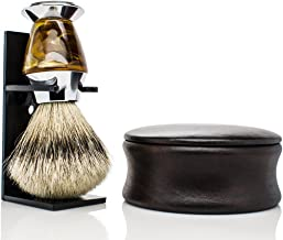 Maison Lambert PERSONALIZED Badger Shaving set - Include a wooden shaving bowl, a badger shaving brush and an organic shaving soap. Please your men with this shaving kit! (Silvertip Badger)