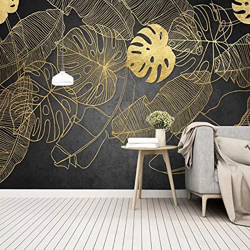XLXBH 3D behang zelfklevend wandschilderij Moderne gouden bananen-Tropisch regenwoud wandschilderij behang woonkamer eetkamer abstract kunst-fotobehang 3D, kinderkamer kantoor eetkamer woonkamer decoratie 250x175 cm (BxH) 5 Streifen - selbstklebend
