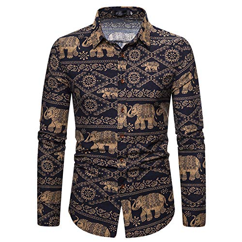 Camisa Estampada de Gran tamaño de Corte Entallado para Hombre Camisas de Manga Larga con Botones cómodas y cómodas Camisas 4XL