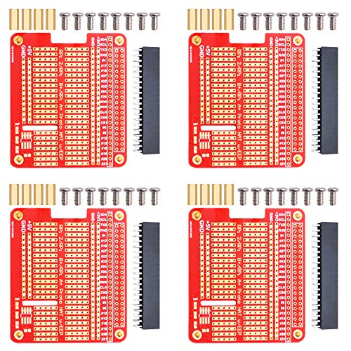 GeeekPi 4X Prototype Breakout DIY Breadboard PCB Shield Board Kit für Raspberry Pi 4 3 2 B+ A+(Rot)