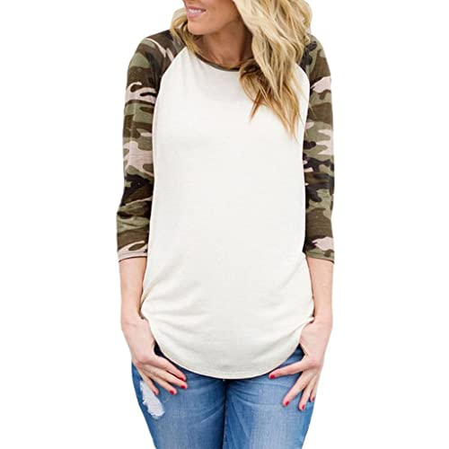 7269e6e9b ROSKIKI Women's 3 4 Reglan Sleeve Floral Stripes Camouflage Casual Blouse T  Shirt Tops