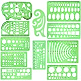 11 Pcs Geometric Drawings Templates Measuring Rulers Plastic Measuring Templates Plastic G...