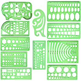 11 Pcs Geometric Drawings Templates Measuring Rulers Plastic Measuring Templates Plastic Geometry Stencils with 1 Pack…