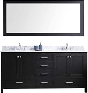 Virtu USA Premium KD-60072-WMSQ-ZG Caroline Avenue Double Bathroom Vanity Cabinet Set, 72
